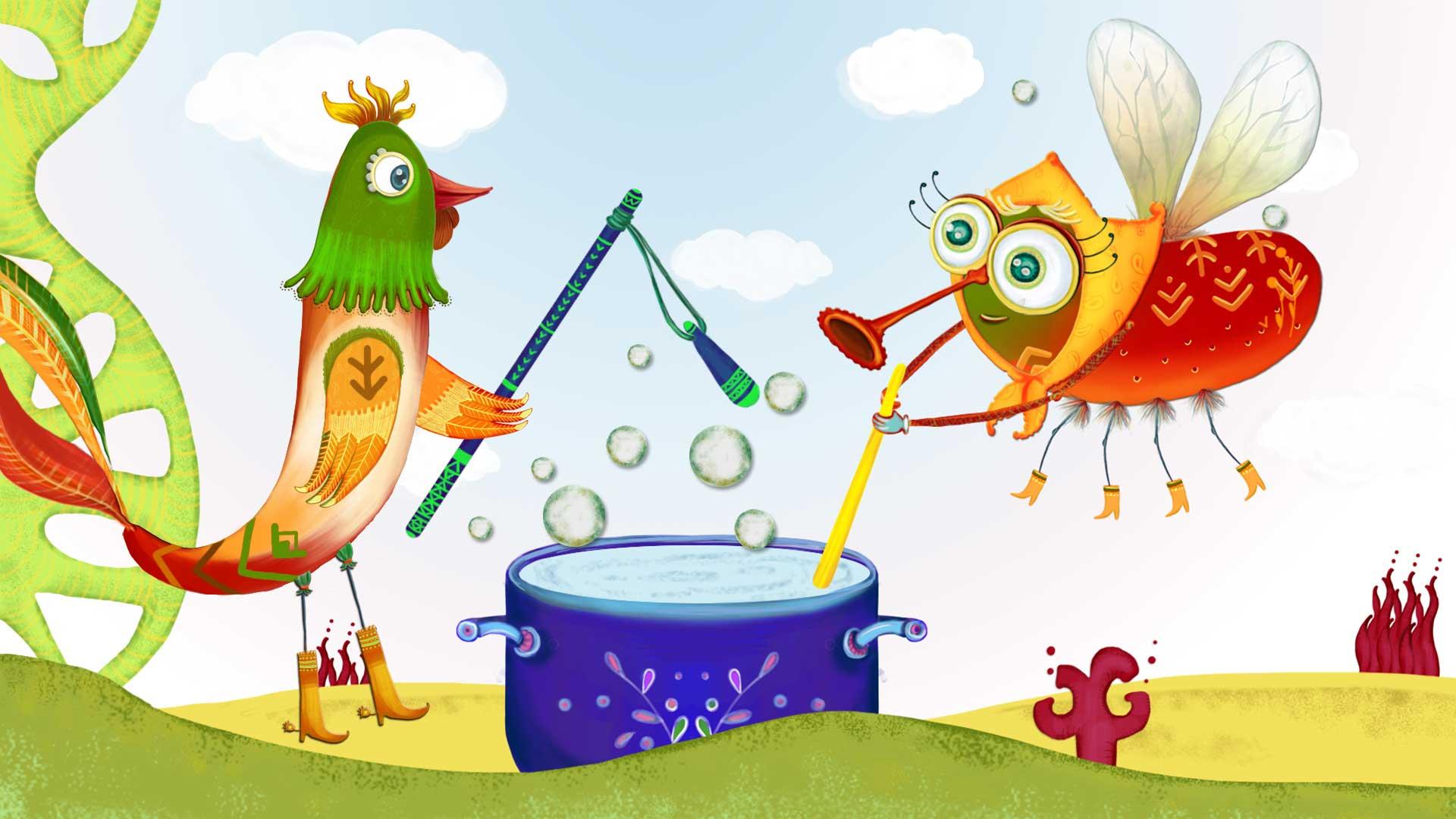 Du gaideliai, animacija, muse, dainele vaikams