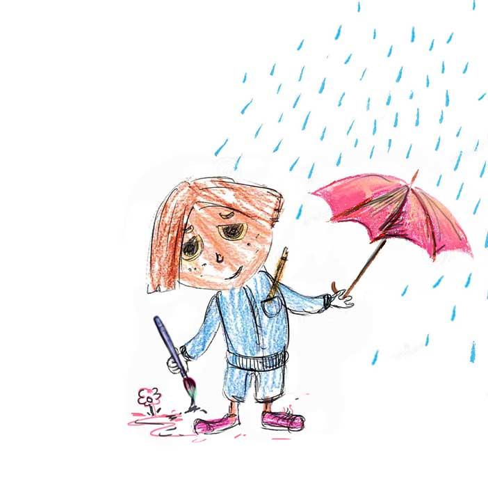 lietus, piesinys, animotukas